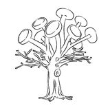 Solar tree. Tree with solar panels, black and white Vector Illustration