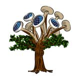 Solar tree. Tree with solar panels, full color Stock Illustration
