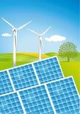 Solar- und Windleistung lizenzfreie abbildung