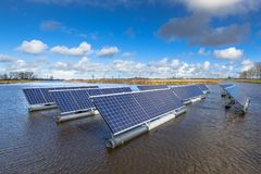 Solar units on water royalty free stock photos