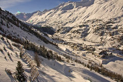 Solar valley. Mountain-skiing Austria. On lines. A kind on a valley Royalty Free Stock Image