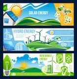 Solar, vento e hidro bandeira da energia das energias verdes ilustração do vetor