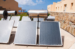 Solar water heater. On roof Stock Photo