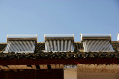 Solar water heater on roof Royalty Free Stock Photography