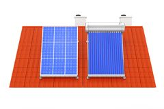 Solar Water Heater and Solar Panel Installed on a Red Roof. 3d R Royalty Free Stock Photos
