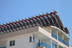 Solar water heaters on the roof Stock Photo