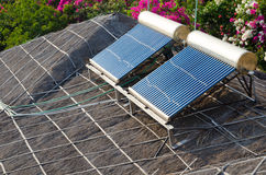 Solar water heating Royalty Free Stock Images