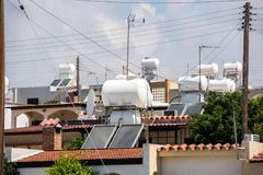 Solar water heating SWH system royalty free stock photography
