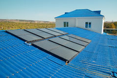 Solar water heating system Stock Images