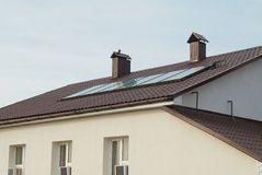 Solar water heating system Stock Photos