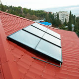 Solar water heating system. Stock Photography