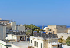 Solar water heating systems on the house's roofs Royalty Free Stock Photo