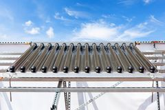 Solar water panel heating system. Energy saving concept.  stock images