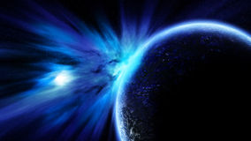 Solar Wind With Blue Planet Royalty Free Stock Image