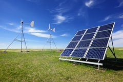 Solar and wind energy. Wind turbines and solar panels,Green environment Royalty Free Stock Photography