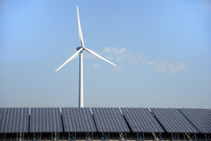 Solar and wind energy plant Stock Photo