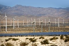 Solar and Wind Energy. Plantation in Southern California, USA. Alternative Energy Sources Photo Collection Royalty Free Stock Image