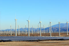 Solar and Wind Energy. Solar and wind renewable sustainable energy source, Palm Springs power plant, CA Royalty Free Stock Photo