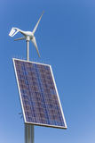 Solar and wind energy. Small solar and wind energy combination unit Royalty Free Stock Photos