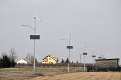 Solar and wind energy. This is a view of lamps powered by solar and wind energy Royalty Free Stock Photos