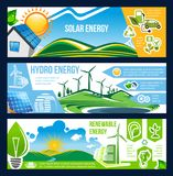 Solar, wind and hydro energy banner of green power. Solar, wind and hydro energy banner for ecology and environment friendly power. Green house, sun panel, wind vector illustration