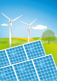 Solar and wind power. Technology Stock Image