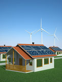 Solar and Wind Power Concept. Houses powered with solar and wind energy. 3D illustration Stock Illustration