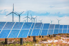 Solar and wind power in coastal saline and alkaline land Stock Photo