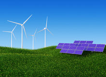 Solar and Wind Power II. Alternative energy / Ecology concept image stock illustration