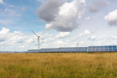 Solar and wind turbines Royalty Free Stock Photography