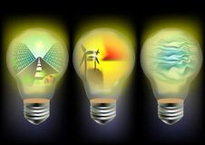 Solar, wind and wave energy. Using mesh Royalty Free Stock Photo