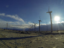 Solar Windmill farm Stock Photography