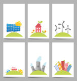 Solar, windmills and nuclear power plants banners Royalty Free Stock Photography