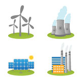 Solar, windmills and nuclear power plants icons Royalty Free Stock Image