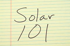 Solar 101 On A Yellow Legal Pad Stock Photography