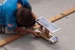 Solarauto Vor-Rennen Prüfung Lizenzfreies Stockbild