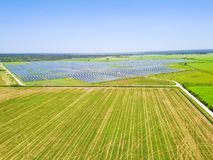 Solarbauernhofantenne in Austin, Texas, USA Lizenzfreies Stockfoto