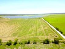 Solarbauernhofantenne in Austin, Texas, USA Lizenzfreies Stockbild