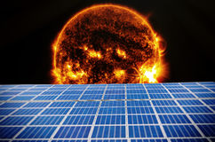 Solarcells in space. Solarcells with our sun in background Royalty Free Stock Photos
