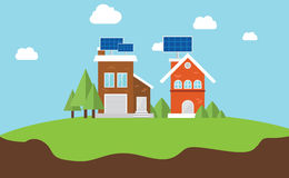 Solarcity solar panel rooftop house Royalty Free Stock Images