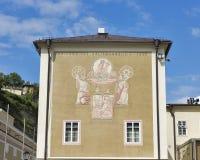 Solarclock located on Salzburg University facade royalty free stock photos