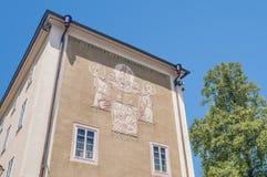 Solarclock sulla facciata dell'università di Salisburgo, Austria Fotografia Stock Libera da Diritti