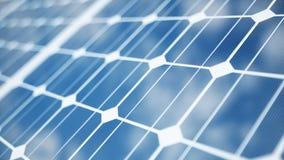 Solarenergie-Generationstechnologie der Illustration 3D Alternative Energie Solarbatteriefeldmodule mit blauem Himmel stock abbildung
