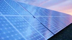 Solarenergie-Generationstechnologie der Illustration 3D Alternative Energie Solarbatteriefeldmodule mit Sonnenunterganghimmel lizenzfreie abbildung
