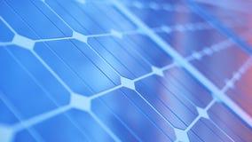 Solarenergie-Generationstechnologie der Illustration 3D Alternative Energie Solarbatteriefeldmodule mit Sonnenunterganghimmel stock abbildung