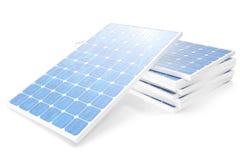 Solarenergie-Generationstechnologie der Illustration 3D Blaue Sonnenkollektoren Alternative Stromquelle des Konzeptes Eco Energie Stockfotografie