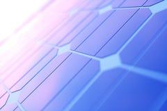 Solarenergie-Generationstechnologie der Wiedergabe 3D Alternative Energie Solarbatteriefeldmodule mit szenischem Sonnenuntergang  lizenzfreies stockfoto