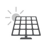 Solarenergie-Platte Flache Netzikone lizenzfreie abbildung