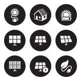 Solarenergieikonen eingestellt lizenzfreie stockfotos