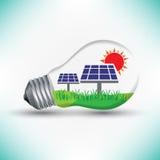 Solarenergiemechanismusarbeit für Lampenidee, erneuerbare Energie lizenzfreie abbildung